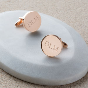Personalised Rose Gold Initial Cufflinks - men's accessories