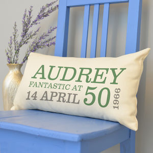 Personalised 50th Birthday Rectangular Cushion - whatsnew