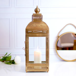 Moroccan Gold Brass Hurricane Lantern Candle Holder - lights & lanterns