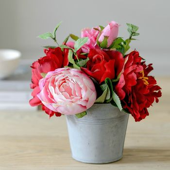 My Love Faux Red Rose And Peony Flower Bucket