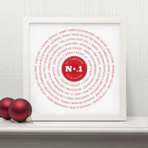Personalised Christmas Record No1 Print
