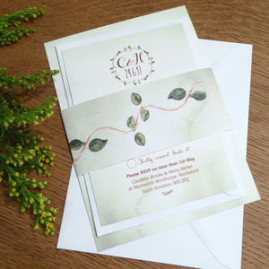 Garden Wreath Wedding Invitation And RSVP - invitations