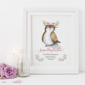 First Holy Communion Gift Print Owl