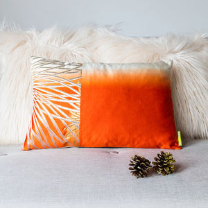 Orange Ombre Gold Cushion - living room