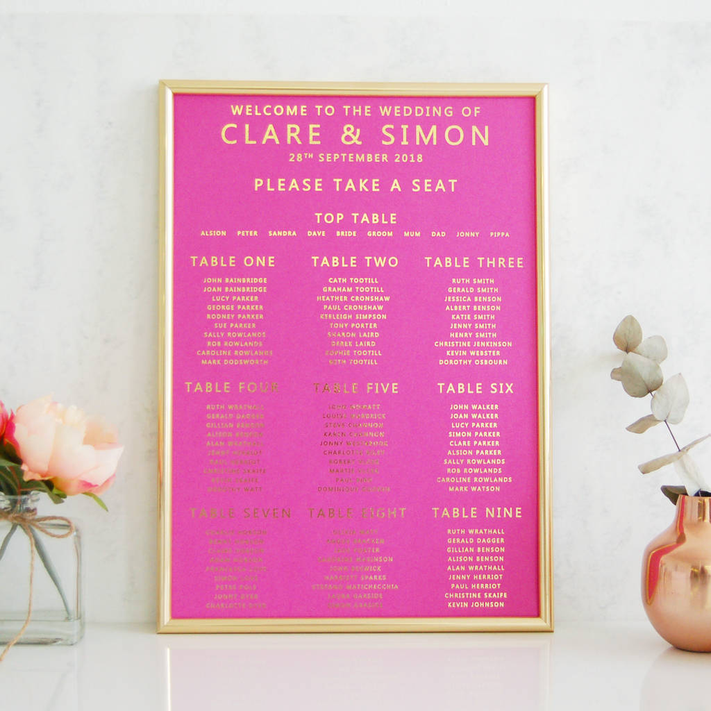 Hot Pink And Gold Wedding Seating Plan Table