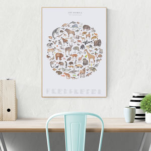 100 Animals A2 Print - posters & prints