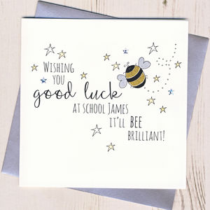 Personalised Bee Good Luck At School Card