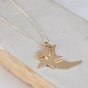 Delicate Moon And Stars Necklace