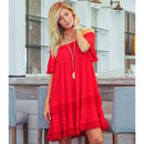 Esmerelda Off The Shoulder Dress Red - fashion