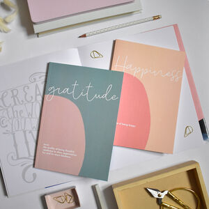 Set Of Two Slim Notebooks Gratitude And Happiness