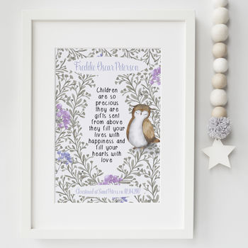 Christening Gifts Girls Boys Print Owl