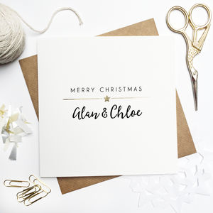 Personalised Merry Christmas Couple Foiled Card - cards