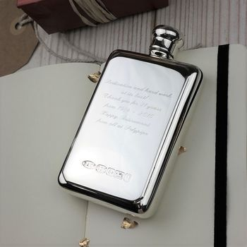 Personalised Sterling Silver Hip Flask