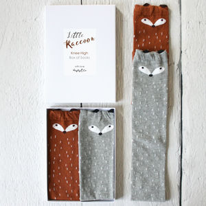 Little Raccoon Box Of Kids Socks - stocking fillers