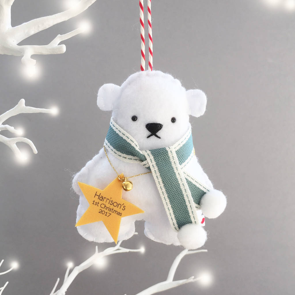 personalised polar bear christmas tree decoration