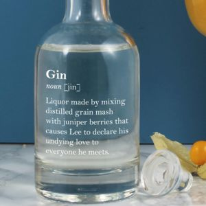 Witty Personalised Gin Definition Decanter Two Sizes - drinks connoisseur