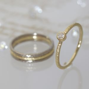 Gold Diamond Solitaire Engagement Ring - gold rings