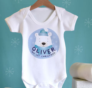 1st Christmas Polar Bear Baby Name Vest - christmas clothing & accessories