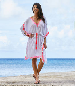 Aspiga Festival Embroidered Kaftan White/Pink