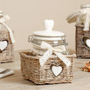 Farmhouse Glass Storage Jars In Heart Basket
