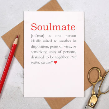 Soulmate Definition Anniversary Valentine's Card