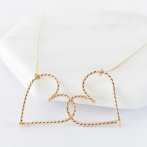Hearts Linked Twisted 14k Gold Filled Necklace - necklaces & pendants
