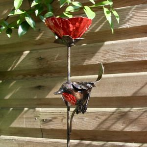 Red Poppy And Small Robin Sculpture - art & decorations