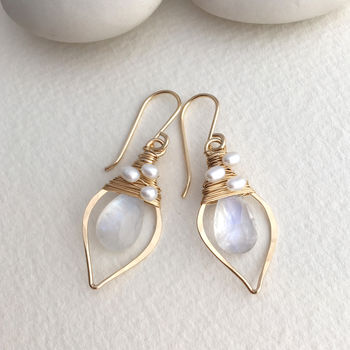 Moonstone And Pearl Leaf Hoops