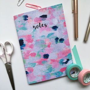 'Notes' Confetti Print Abstract Lined Notebook - writing
