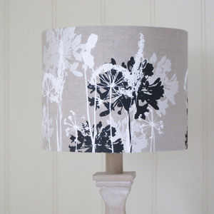 Floral Printed Linen Lampshade Black And White