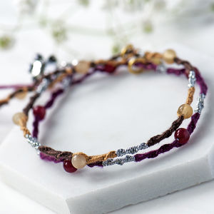 Colourful Bead Friendship Stacking Bracelets Hand Woven
