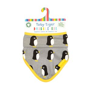 Organic Cotton Grey Penguin Dribble Bib