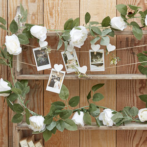 Artificial White Rose Decorative Garland