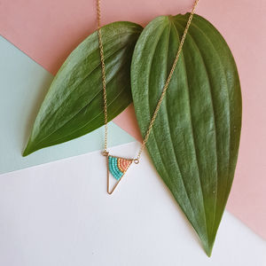 Mini Gold Colourful Triangle Necklace