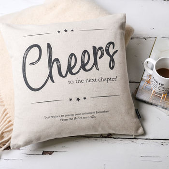 Cheers Retirement Personalised Cushion Cover
