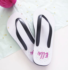 Personalised Confetti Name Flip Flops - one week to go