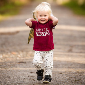 'Adventure Awaits' Children's Slogan T Shirt - for little adventurers