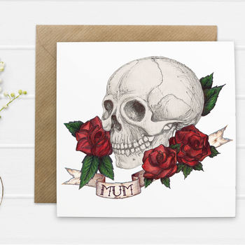 Skull And Rose Tattoo Style 'Mum' Card