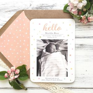 'Hello' New Baby Birth Announcement And Thank You Card