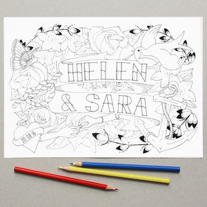 Personalised Mrs And Mrs Wedding Colouring In Page
