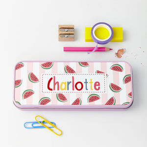 Girls Personalised Melon Print Pencil Case Tin
