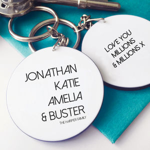 Favourite Names Personalised Family Message Keyring - keyrings