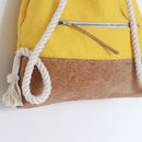 This image displays the 'Zipped security pocket' option. The yellow bag itself is a different product form my shop.