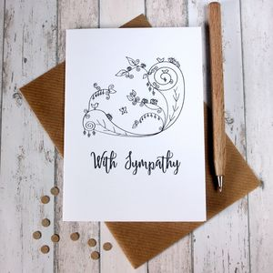 Sympathy Card 'With Sympathy' Illustrated Card - sympathy & sorry cards