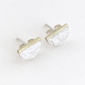 Petals Embossed Tiny Half Round Ear Stud - earrings