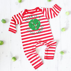 Personalised 'Little Sprout' Sparkly Christmas Romper - clothing
