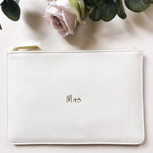 Mrs Slogan Clutch Bag White - bridal beauty