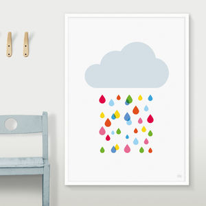 Multicoloured Rain Cloud Print - nursery pictures & prints