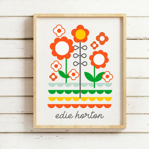 Personalised Retro Floral Print - baby's room