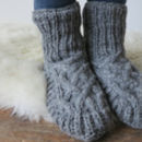 Fairtrade Handknitted Wool Fleece Lined Slipper Socks
